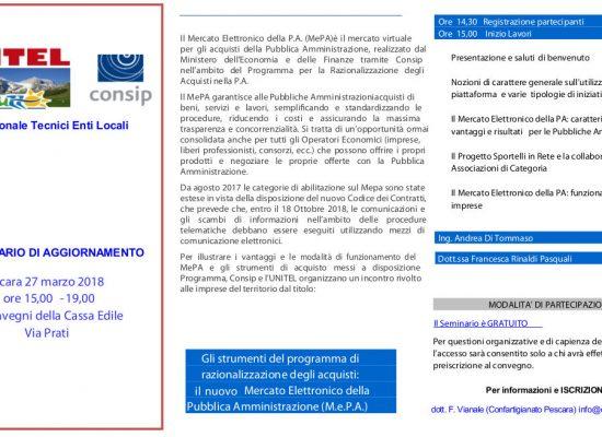 Il 27 marzo seminario di aggiornamento sul Mercato Elettronico della PA (MePa)