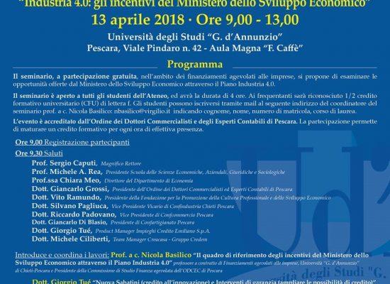 """""""Industria 4.0: gli incentivi del Ministero dello Sviluppo Economico"""", seminario a Pescara"""